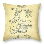 Fender Guitar Patent Drawing From 1960 Throw Pillow by Aged Pixel