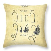 Fishing Fly Patent Drawing From 1892 Throw Pillow