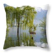 Flooding Alpine Lake Throw Pillow