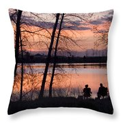 Fly Fishing At Sunset Throw Pillow