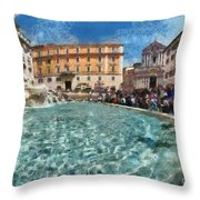 Fontana Di Trevi In Rome Throw Pillow