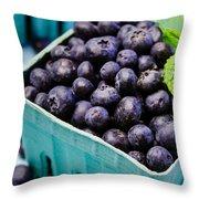 Fresh Picked Organic Blueberries Throw Pillow