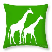 Giraffe In Green And White Throw Pillow