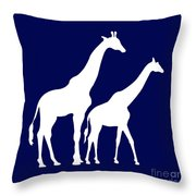 Giraffe In Navy And White Throw Pillow