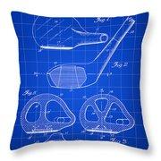 Golf Club Patent 1926 - Blue Throw Pillow