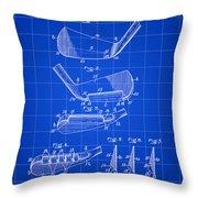 Golf Iron Patent 1914 - Blue Throw Pillow