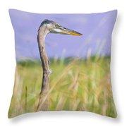Great Blue Heron On The Prairie Throw Pillow