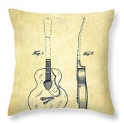 Gretsch Guitar Patent Drawing From 1941 - Vintage Throw Pillow by Aged Pixel