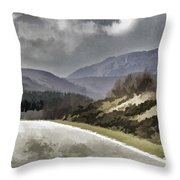 Highway Running Through The Wilderness Of The Scottish Highlands Throw Pillow