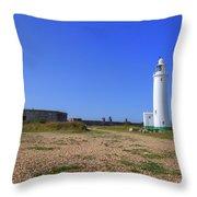 Hurst Point Lighthouse Throw Pillow