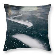 Ice Pattern On Frozen Abraham Lake Throw Pillow