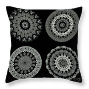 Kaleidoscope Ernst Haeckl Sea Life Series Black And White Set 2  Throw Pillow