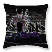 Lady Sleeping While Boatman Steers Throw Pillow