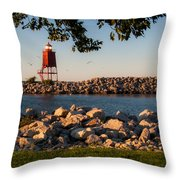 Lighthouse In Lake Michigan Nature Scenary Near Racine Wisconsin Throw Pillow