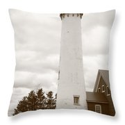 Lighthouse - Tawas Point Michigan Throw Pillow