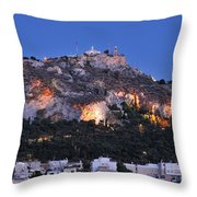 Lycabettus Hill During Dusk Time Throw Pillow