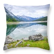 Mountain Lake In Jasper National Park Throw Pillow