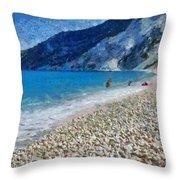 Myrtos Beach In Kefallonia Island Throw Pillow
