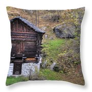 Old Rustic House Throw Pillow