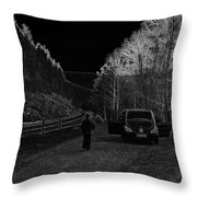 Parking Next To A Loch In The Scottish Highlands Throw Pillow