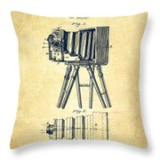 Photographic Camera Patent Drawing From 1885 Throw Pillow by Aged Pixel