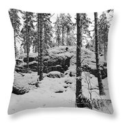 Pine Forest Winter Throw Pillow