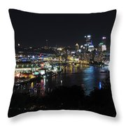Pittsburgh Skyline At Night Throw Pillow