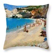 Porto Katsiki Beach In Lefkada Island Throw Pillow