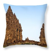 Prambanan Temple In Indonesia Throw Pillow