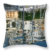 Reflections In Mikrolimano Port Throw Pillow