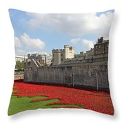 Remembrance Poppies At Tower Of London Throw Pillow