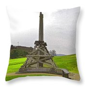 Replica Of Wooden Trebuchet And The Ruins Of The Urquhart Castle Throw Pillow