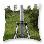 Replica Of Wooden Trebuchet On The Path Leading To The Urquhart Castle Throw Pillow
