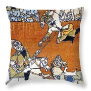 Shahnameh Ferdowsi Rostam And Sohrab Photos Of Persian Antique Rugs Kilims Carpets  Throw Pillow