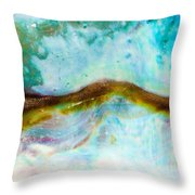 Shiny Nacre Of Paua Or Abalone Shell Background Throw Pillow