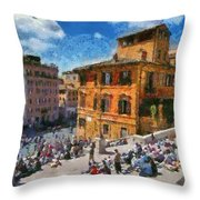 Spanish Steps At Piazza Di Spagna Throw Pillow