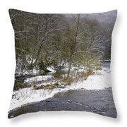 Spring Snow Williams River  Throw Pillow