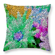 Stained Glass Flowers Throw Pillow