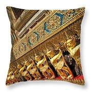 Temple In Grand Palace Bangkok Thailand Throw Pillow