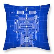 Tesla Electric Generator Patent 1894 - Blue Throw Pillow