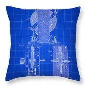 Tesla Electro Magnetic Motor Patent 1889 - Blue Throw Pillow