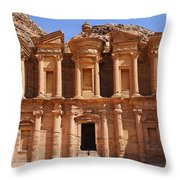 The Monastery At Petra In Jordan Throw Pillow by Robert Preston