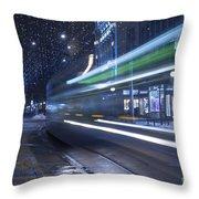 Tram At Night Throw Pillow