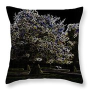 Tree With Large White Flowers Throw Pillow