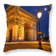 Twilight At Arc De Triomphe Throw Pillow