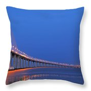 Vasco Da Gama Bridge In Lisbon Throw Pillow