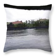View Of Lake Resort Framed From The Top Of A Houseboat Throw Pillow