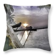 View Of Sunrise From Boat Throw Pillow