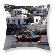 A Boat In The Harbor Of Mykonos Greece Throw Pillow