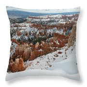 Winter Scene, Bryce Canyon National Park Throw Pillow